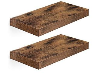 VASAGlE Wall Shelf Set of 2  Vintage Floating Shelf 15 7 Inch  Hanging Shelves Wall Mounted  for Photos  Decorations  Rustic Brown UlWS24BX 2