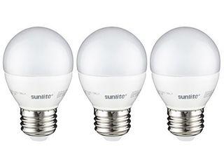 Sunlite G16 lED 7W D E26 FR ES 27K CD 3PK Dimmable Energy Star 2700K Medium Base Warm White lED Globe G16 7W light Bulb  3 Pack  Frosted