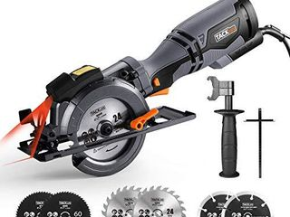 TACKlIFE Circular Saw with Metal Handle  6 Blades 4 3 4    4 1 2a  laser Guide  5 8A  Max Cutting Depth 1 11 16   90A  1 3 8   45A  Ideal for Wood  Soft Metal  Tile and Plastic Cuts   TCS115A