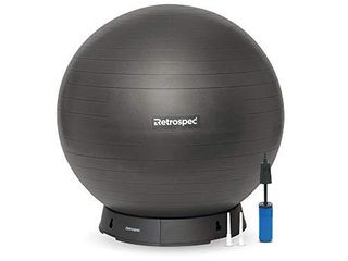 Retrospec luna Exercise Ball  Base   Pump with Anti Burst Material  Perfect for Balance  Stability  Yoga   Pilates