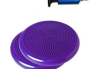 2 Pack   SueSport Air Inflated Stability Wobble Cushion  Balance Disc  Twist Massage  14 Inch  Purple AA
