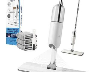 O woda Microfiber Spray Mop Cleaning Kit  with 3 Reusable Microfiber Pad and 450ml Spray Bottle  Flat Mop for Home Kitchen Hardwood laminate Wood Ceramic Tiles Floor Cleaning  White
