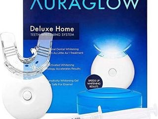 AuraGlow Teeth Whitening Kit  lED light  35  Carbamide Peroxide   2  5ml Gel Syringes  Tray and Case