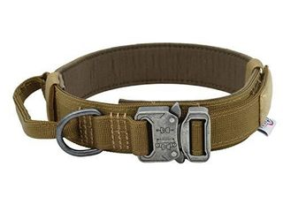 TUBERK Tactical Dog Collar a K9 Tactical Collar for Dogs a Brown  Black  or Green Nylon Adjustable Dog Collar a Medium  large  and X large Metal Buckle Dog Collar  M  13 5    17 5  Brown