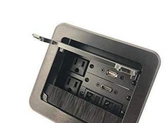 Yolkvisual Conference Table Connectivity AV Box 2 AC   1 HDMI   1 USB   2 RJ45 Black