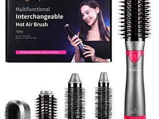 Brightup Hot Air Brush  Hair Dryer Brush  Styler Volumizer  Negative Ionic Electric Blow Dryer Brush   Curler Straightener Styler  4 in 1 Detachable Brush Kit with Interchangeable Brush Head