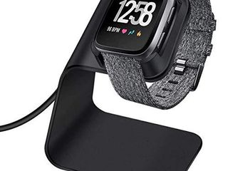 CAVN Charger Dock Compatible with Fitbit Versa Versa lite  Not for Versa 2  Premium Aluminum Charging Cable Cord Station Cradle Base Attached 4 2ft USB Stand Cable Smartwatch Accessories  Black