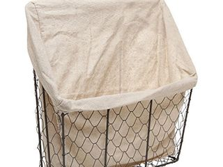 Country Rustic Wall Mounted Metal Wire Hanging Basket w Beige linen Fabric