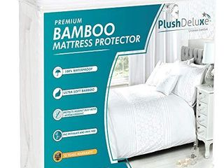 PlushDeluxe Premium Bamboo Mattress Protector a Waterproof  Hypoallergenic   Ultra Soft Breathable Bed Mattress Cover for Maximum Comfort   Protection   PVC  Phthalate  King Size