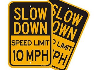 2 Pack Slow Down   Speed limit 10 MPH Signs  large 12 x18  Reflective Rust Free  040 Aluminum  Weather Fade Resistant  Easy Mounting  Outdoor Use for Neighborhoods Driveway Yard
