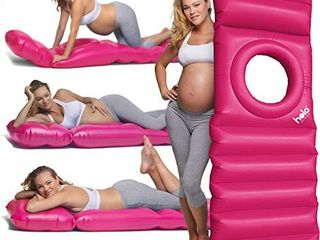 HOlO The Original Inflatable Pregnancy Pillow  Pregnancy Bed   Maternity Raft Float with a Hole to lie on Your Stomach During Pregnancy  Safe for land   Water  Pink