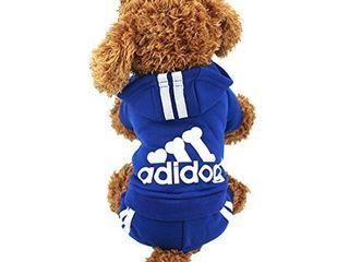 Idepet Cotton Adidog Dog Hoodie Clothes  S  Navy Blue