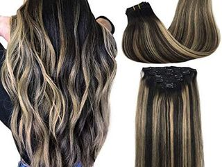 GOO GOO Clip in Human Hair Extensions Natural Black to light Blonde Real Hair Extensions Clip in Natural Hair Extensions 20 inch 7pcs 120g