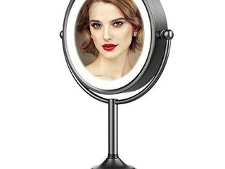 VESAUR Professional 10   large Tall Size  lighted Makeup Mirror  5X 2 Sided Magnifying Vanity Mirror with 48 Medical lED lights  Senior Satin Nickel Cosmetic Mirror  Brightness Adjustable  0 1100lux