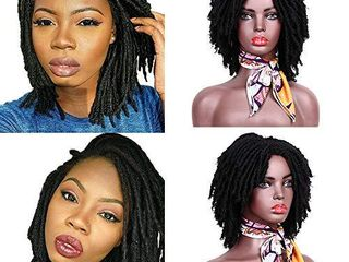 Dreadlock Wig 6 Inch Short Twist Wigs Afro Curly Synthetic Wig Faux locs Wig for Women and Men  1B