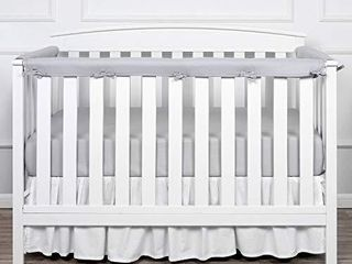 TIllYOU 3 Piece Padded Baby Crib Rail Cover Protector Set from Chewing  Safe Teething Guard Wrap for Standard Cribs  100  Silky Soft Microfiber Polyester  Fits Side and Front Rails  Pale Gray