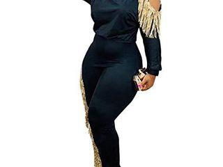 Womens 2 Piece Tracksuit  Fringe Cold Shoulder long Sleeve Pullover Top Skinny Pants Set Black Xl