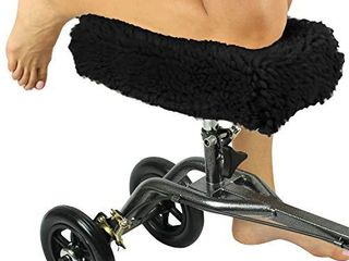 Vive Mobility Knee Walker Pad Cover   Plush Synthetic Faux Sheepskin Scooter Cushion   Accessory for Knee Roller   leg Cart Improves Comfort During Injury  Black
