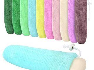 10 Pieces Exfoliating Mesh Soap Pouch Mesh Soap Saver Bag Bubble Foam Net for Body Facial Cleaning Tool  Random Colors
