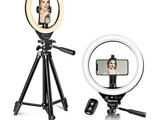 10aa lED Ring light with Stand and Phone Holder  UBeesize Selfie Halo light for Photography Makeup Vlogging live Streaming  Compatible with Phones and Cameras  2020 Version