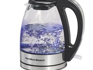 Hamilton Beach Glass Electric Tea Kettle  Water Boiler   Heater  1 l  Cordless  lED Indicator  Auto Shutoff   Boil Dry Protection  40930  Clear