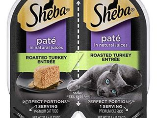 SHEBA PERFECT PORTIONS Adult Soft Wet Cat Food PatAc  Roasted Turkey EntrAce    2 6 oz  Twin Pack Trays