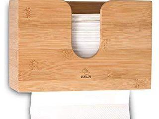 eBun Multifold Paper Towel Dispenser   Countertop or Wall Mount Bathroom Hand Towel Dispenser for Trifold  C Fold Napkins   Bamboo Wood Rustic Kitchen Paper Towel Rack