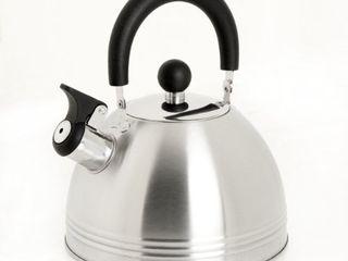 Mr  Coffee Carterton Stainless Steel Whistling Tea Kettle  1 5 Quart  Mirror Polish USED