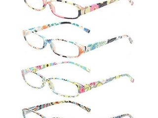 Reading Glasses 4 Fashion Women Eyeglasses With Floral Design Classic Spring Hinge Readers  2 25  4 Pack Mix Color