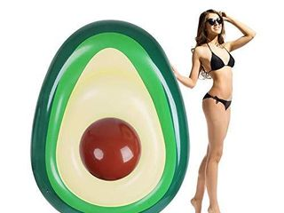 Zoostliss Inflatable Avocado Pool Float   Floatie with Ball Water Fun large Blow Up Summer Beach Swimming Raft Kids Adults
