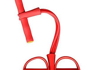 TOTUOKEY 4 Tube Elastic Sit Up Pull Rope Chest Fitness Beauty leg  Portable Home Gym Device with Elastic Bodybuilding Equipment for Abdomen  Waist  Arm  Yoga Stretching Slimming Training  Red