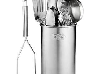 Stainless Steel Kitchen Utensil Set   10 piece premium Nonstick   Heat Resistant Kitchen Gadgets  Turner  Spaghetti Server  ladle  Serving Spoons  Whisk  Tongs  Potato Masher and Utensil Holder