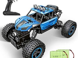 RC Car  SHARKOOl 2020 Updated 2 4Ghz 4WD 1 16 Scale RC Trucks Rc Crawlers Remote Control Car with Two Rechargeable Batteries  Off Road Vehicle for Kids   Adults  Blue