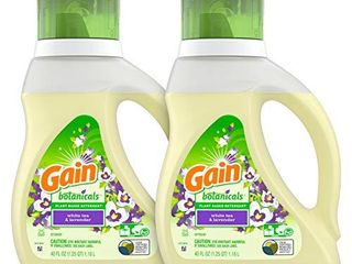 Gain Botanicals Plant Based laundry Detergent  White Tea   lavender  25 loads  40 ounces  2 count  Packaging May Vary