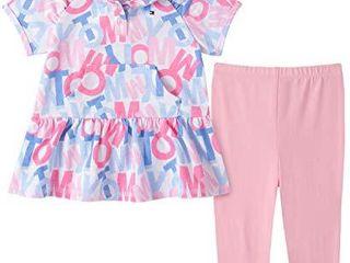 Tommy Hilfiger Girls  2 Pieces legging Set  Pink Blue Print  3 6 Months