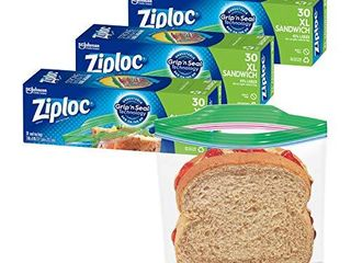 Ziploc Sandwich Bags with New Grip  n Seal Technology  Xl  30 Count  Pack of 3  90 Total Bags
