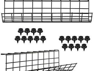 Under Desk Cable Management Tray  Black Cord Basket   Set of 2X 17