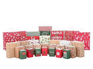 Christmas Gift Bags 28 Count Xmas Holidays Kraft Gift Bags Assorted Sizes 7 Jumbo  7 large  7 Medium  7 Small