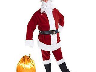 Tvakkera Santa Suit Costume Mr  Claus Plus 9PC Pants Belt Beard Bag Christmas Red