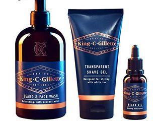 King C  Gillette Men s Beard Care Gift Kit  Beard and Face Wash  Beard Oil  Shave Gel