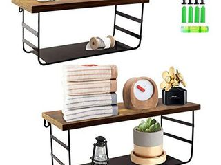 2 Tier Wall Mounted Shelf Set of 2  Wall Floating Shelves with Black Metal for Bathroom  Bedroom  living Room  laundry Room  Kitchen  Garage
