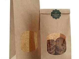 BagDream Bakery Bags with Window Kraft Paper Bags 100pcs 4 5x2 36x9 6 Inches Tin Tie Tab lock Bags Brown Window Bags Cookie Bags  Coffee Bags