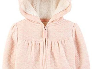 Simple Joys by Carter s Girls  Hooded Sweater Jacket with Sherpa lining  Pink  12 Months