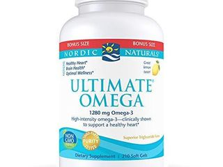 Nordic Naturals Ultimate Omega  lemon Flavor   1280 mg Omega 3 210 Soft Gels   High Potency Omega 3 Fish Oil with EPA   DHA   Promotes Brain   Heart Health   Non GMO   105 Servings