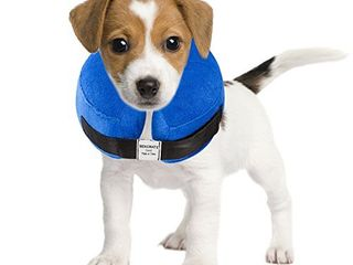 BENCMATE Protective Inflatable Collar for Dogs and Cats   Soft Pet Recovery Collar Does Not Block Vision E Collar  Small  Blue