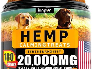 Hemp Dog Chews and Calming Treats for Dogs with Anxiety and Stress   Natural Calming Aid   Separation   Fireworks   Storms   Aggressive Behavior   180 Calming Chews for Dods for Hip and Joint Health