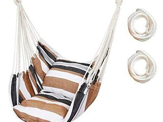 Hammock Chair Hanging Rope Swing Seat for Indoor Outdoor  Sturdy Cotton Weave Hammock Swing  Max 300lbs Hanging Hammock Chair for Bedroom Patio Porch  Wooden Bar and Pillows NOT Included  Khaki