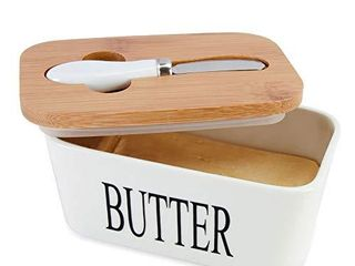 SZUAH Porcelain Butter Dish with Butter Knife 500ml  large Butter Keeper Container with Natural Bamboo lid   Seal Ring  lid damaged