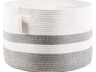 Numyton XXXl large Cotton Rope laundry Basket 22  x22 x 14  Woven  White   Grey