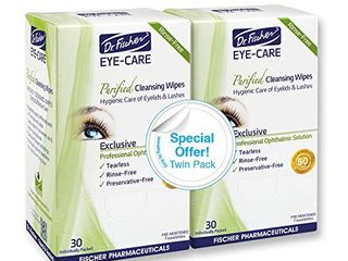 Dr  Fischer Premium  Purified  Non Irritating   Hypoallergenic Eyelid Wipes Pre moistened for complementary treatment of Red Eye  Dry Eye  and Blepharitis   Conjunctivitis Cleanses Make up  Twin Pack